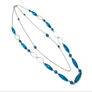 Silver and blue 2 strand necklace